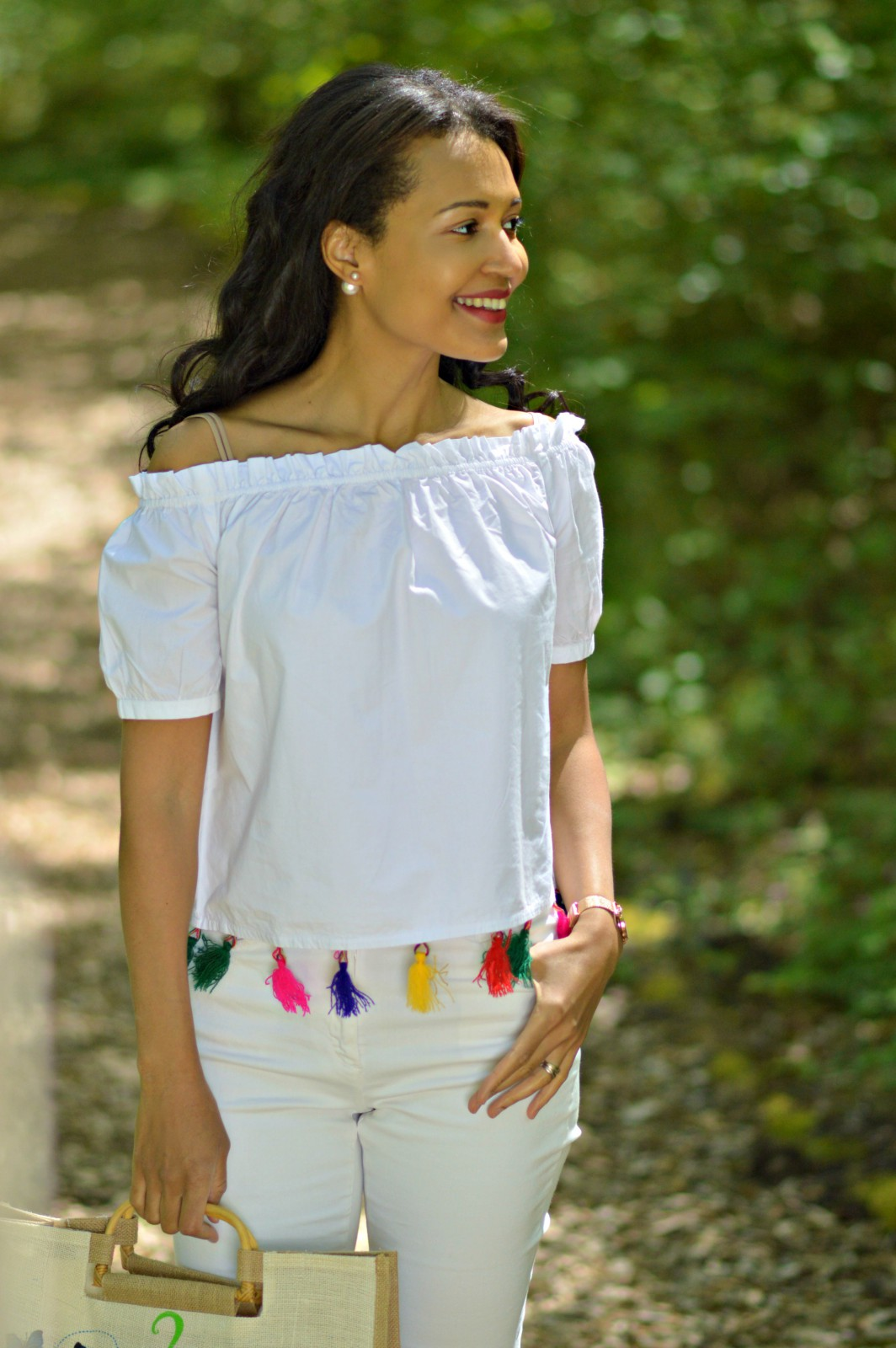 White Off The Shoulder Top With Tassels Currently Wearing