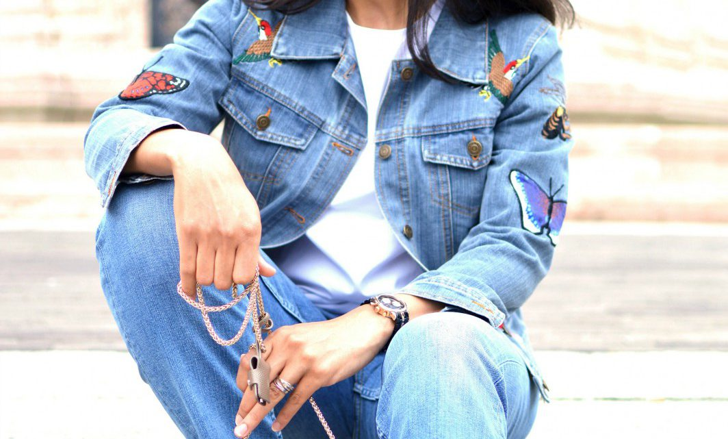 Distressed jeans/embroidered denim jacket/currently wearing
