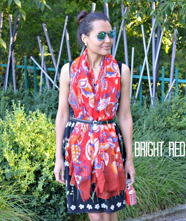 Bright Red scarf over dress