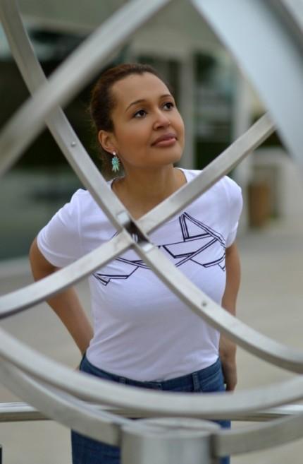 pascale cornu/white t-shirt/ blue jeans