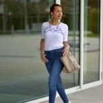 Blue jeans, White t-shirt