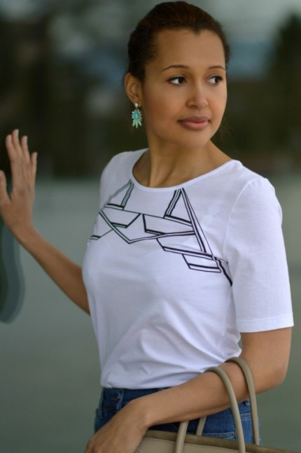 pascale cornu white t-shirt/ currently wearing
