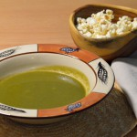 CREAM SPINACH SOUP WITH POPCORN