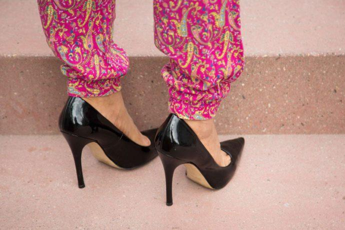 pajama bottoms/black high heels