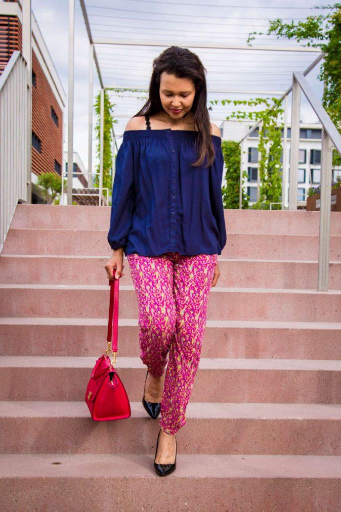 pajama bottoms/off-the-shoulder blouse