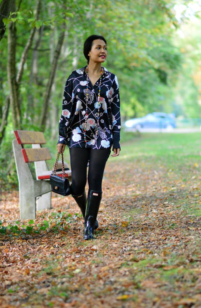 flower-print silk tunic/ currently wearing