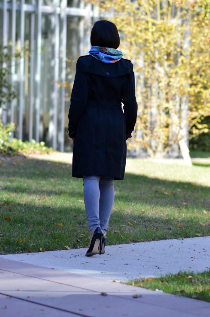 black burberry coat/ vintage Hermes scarf