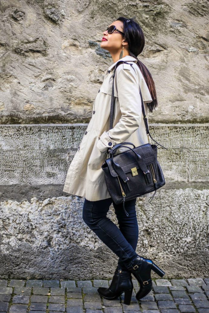 long trench coat/ transitional style