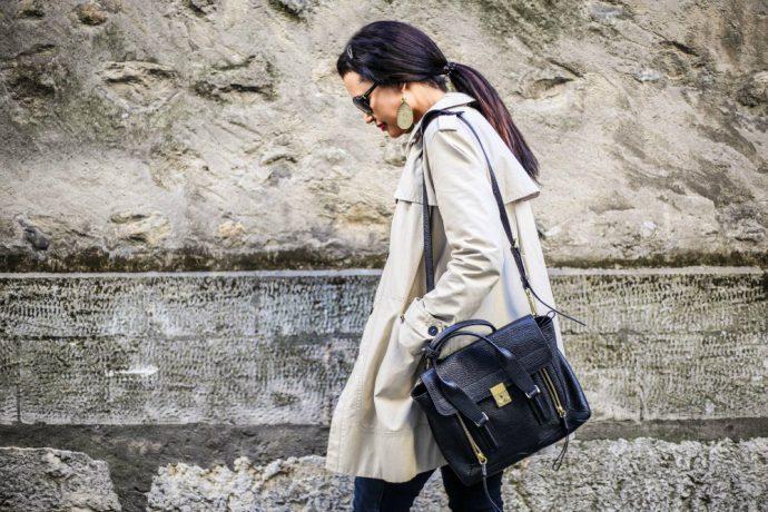 long beige trench coat