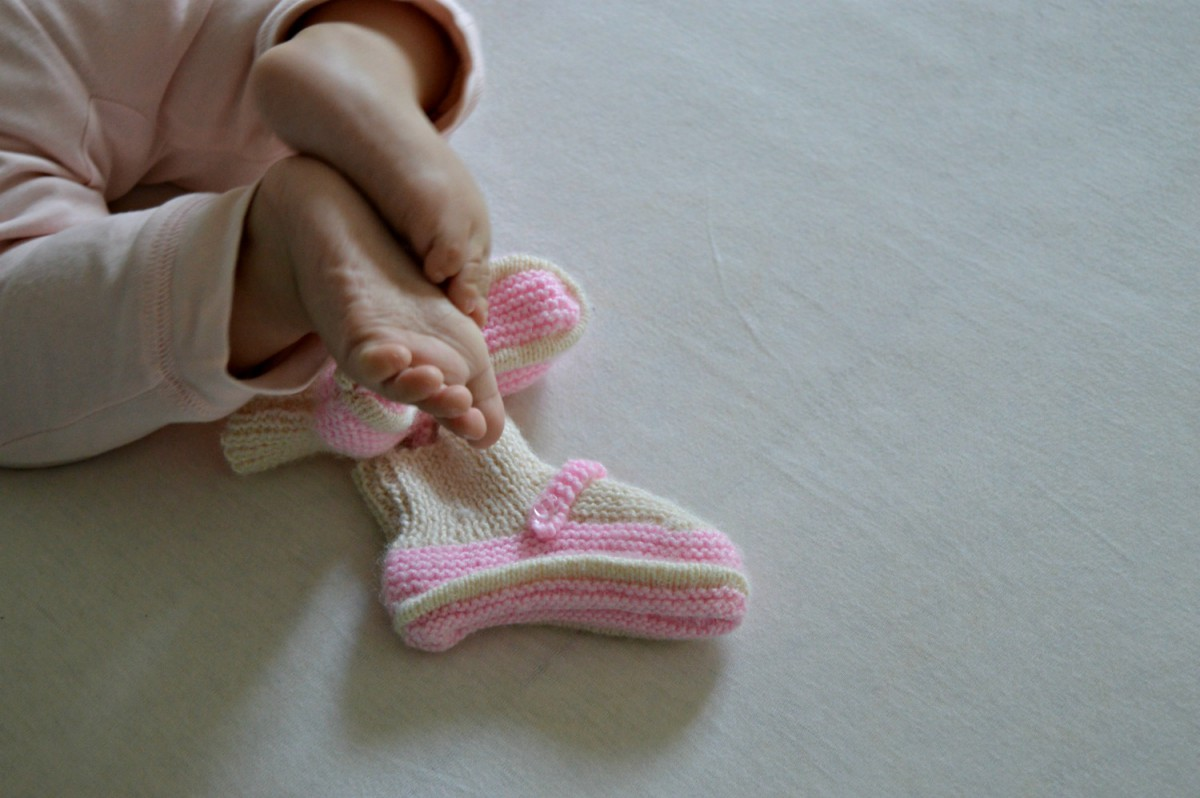hand-knitted booties