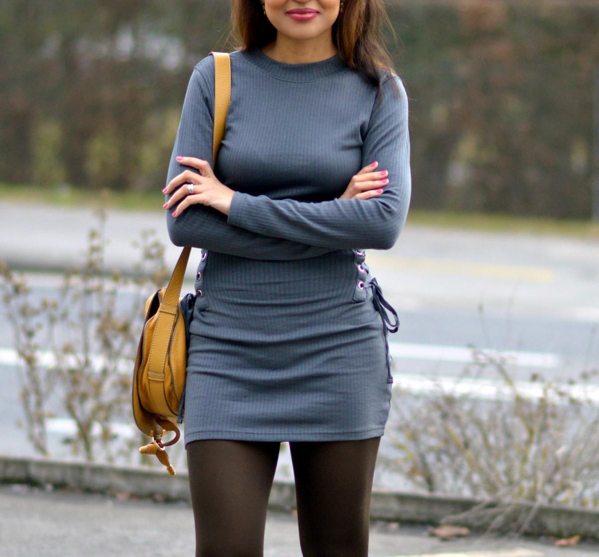 charcoal long sleeve mini dress/ bodycon dress