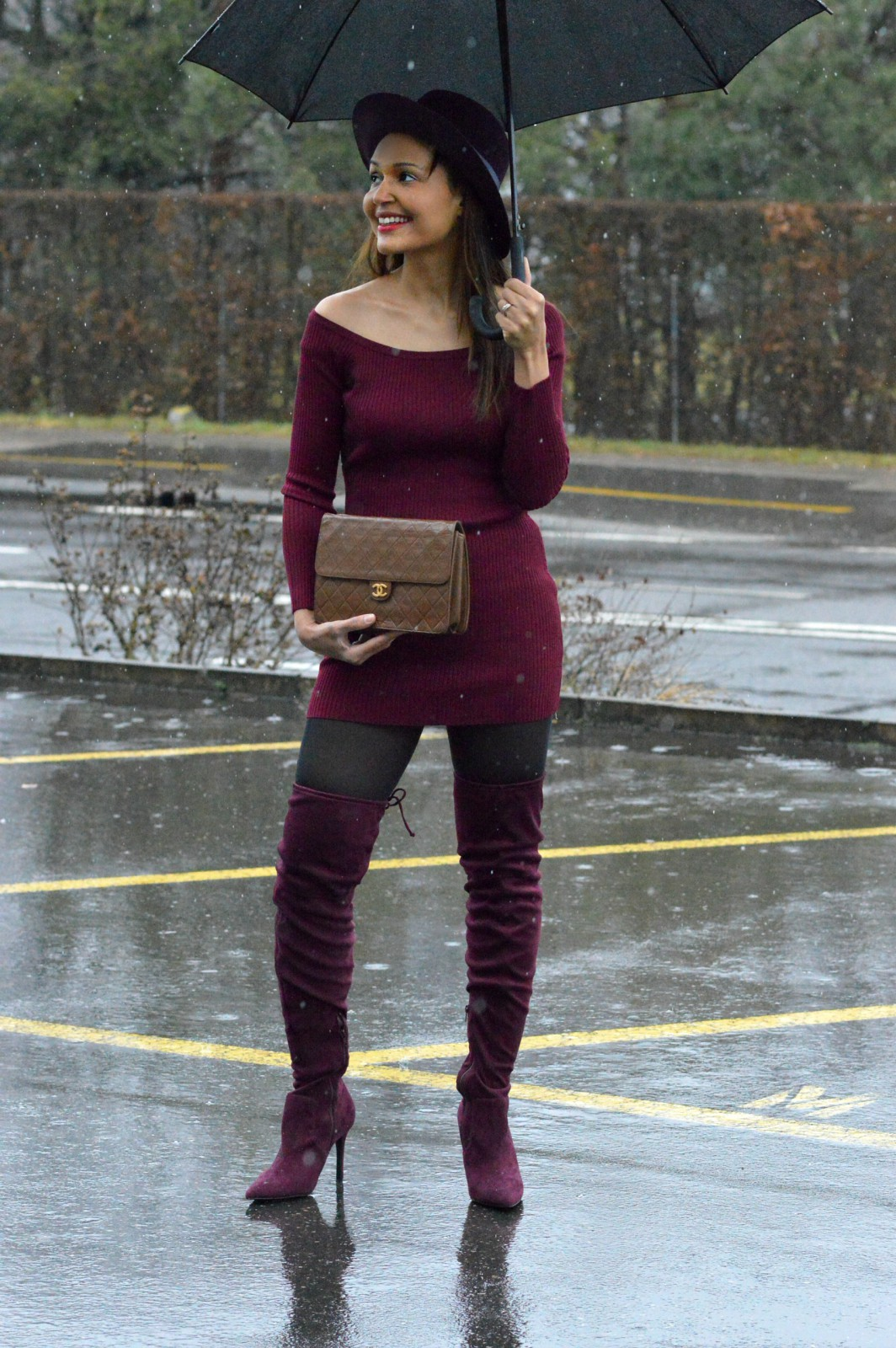 burgundy mini dress_beautiful over the knee boots_currently wearing