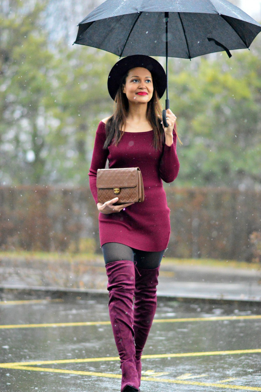 burgundy mini dress_beautiful over the knee boots