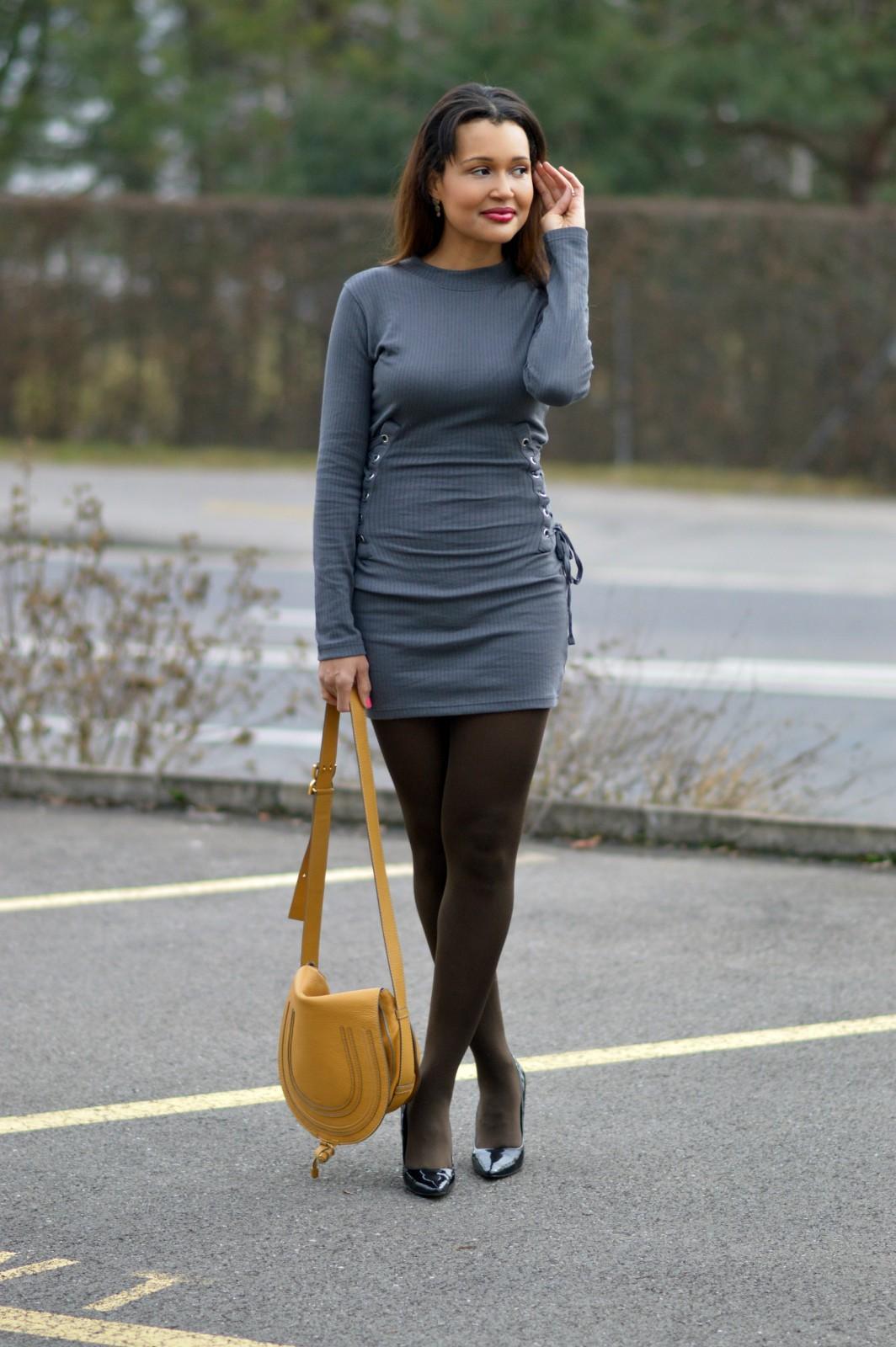 beautiful charcoal long sleeve mini dress