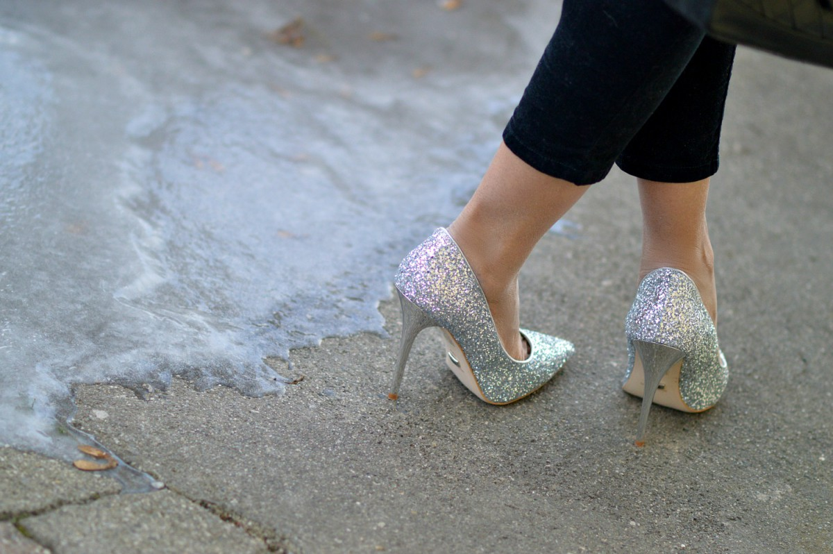 high sparkly heels/ silver high heels