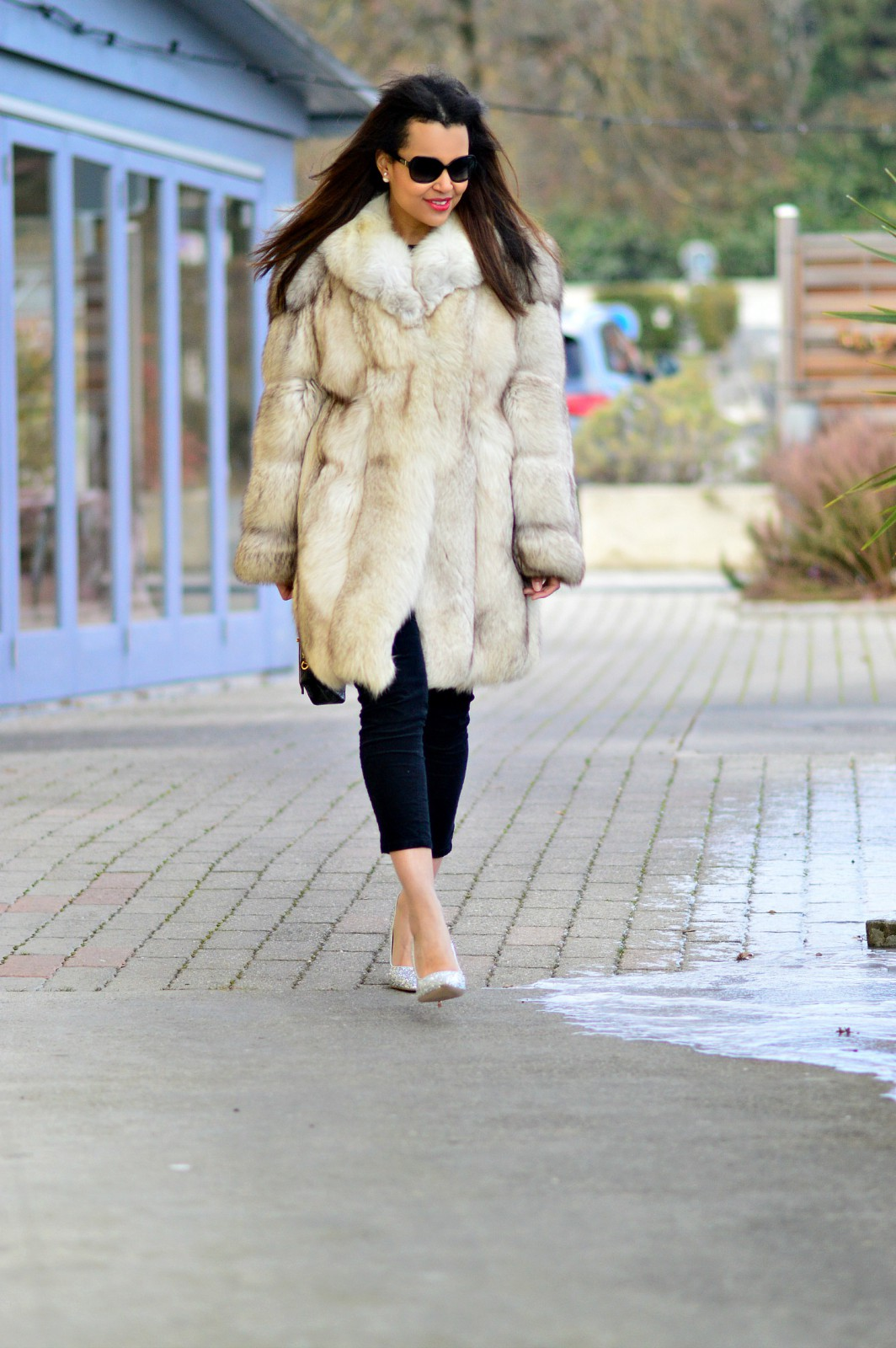 currently wearing / fur coat/ silver heels