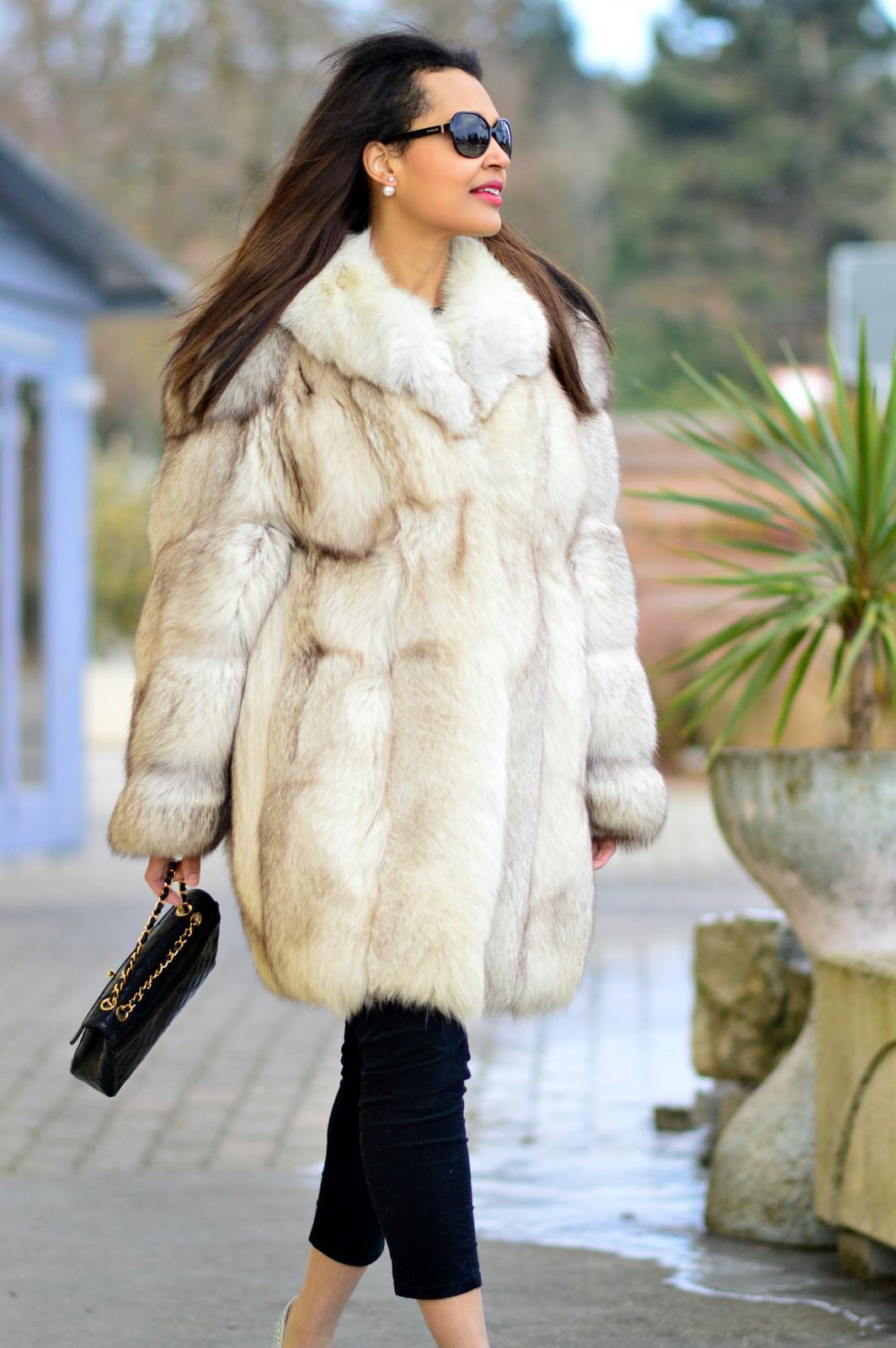 currently wearing / fur coat/ sparkly heels