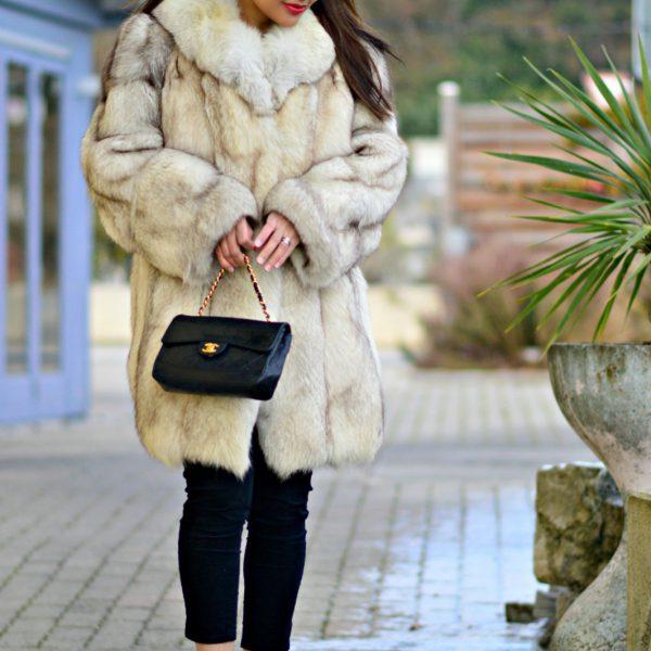 currently wearing / fur coat/ silver heels
