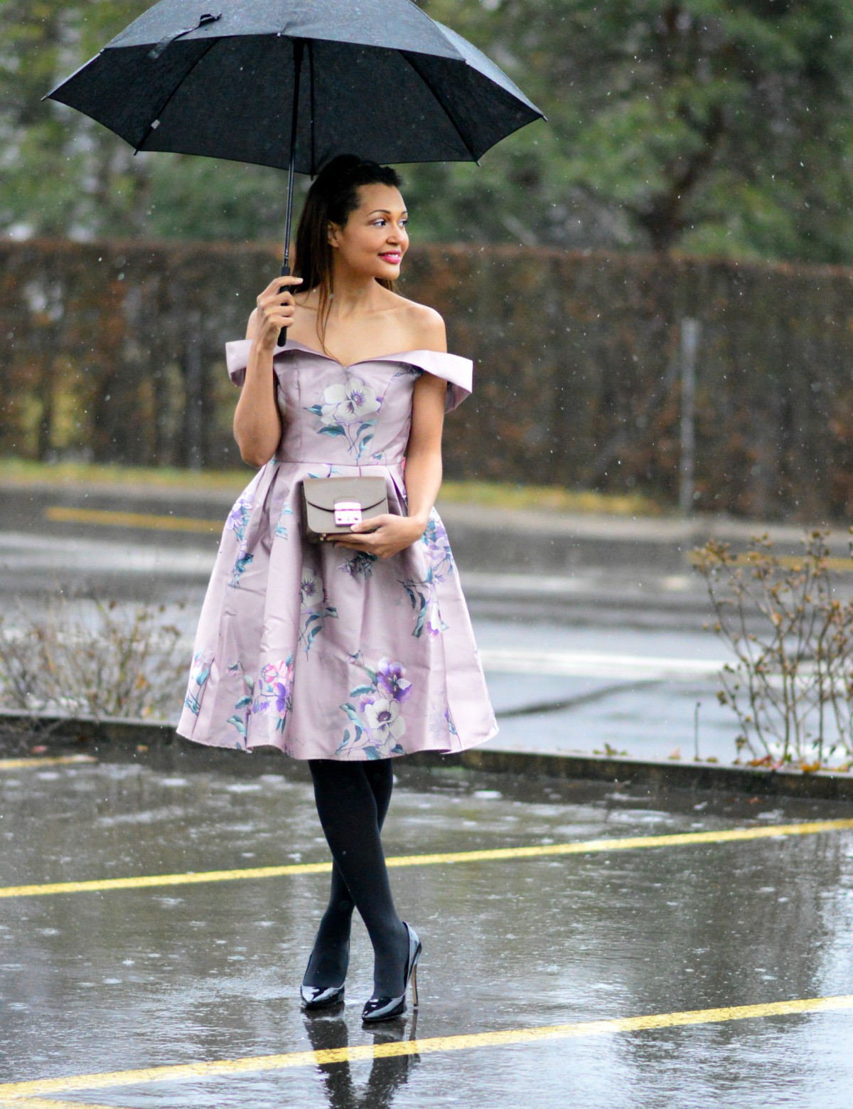 pink floral dress / Valentine's Day outfit