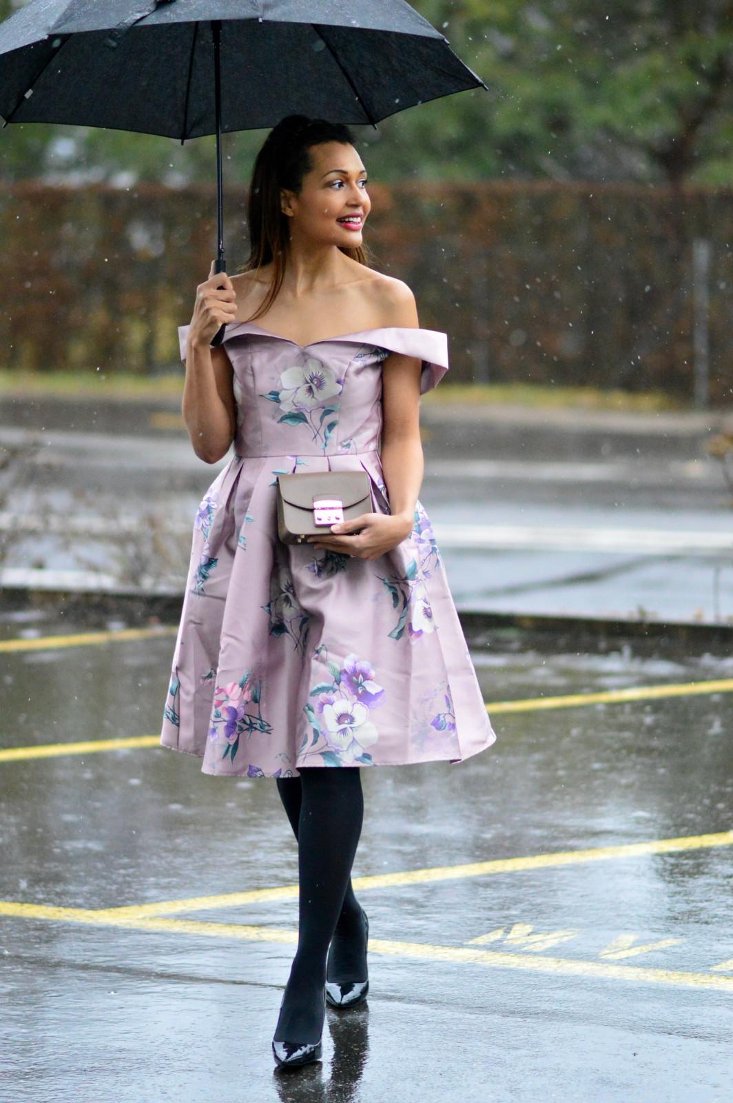 romantic dress/ pink floral dress / off-the-shoulder pink dress