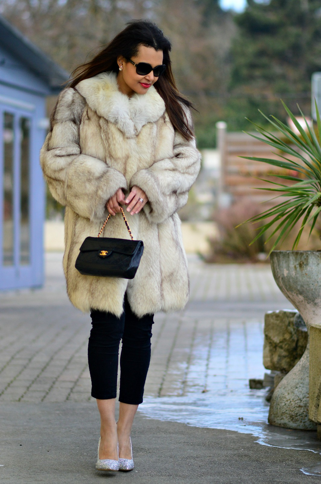 currently wearing / fur coat/ chanel handbag