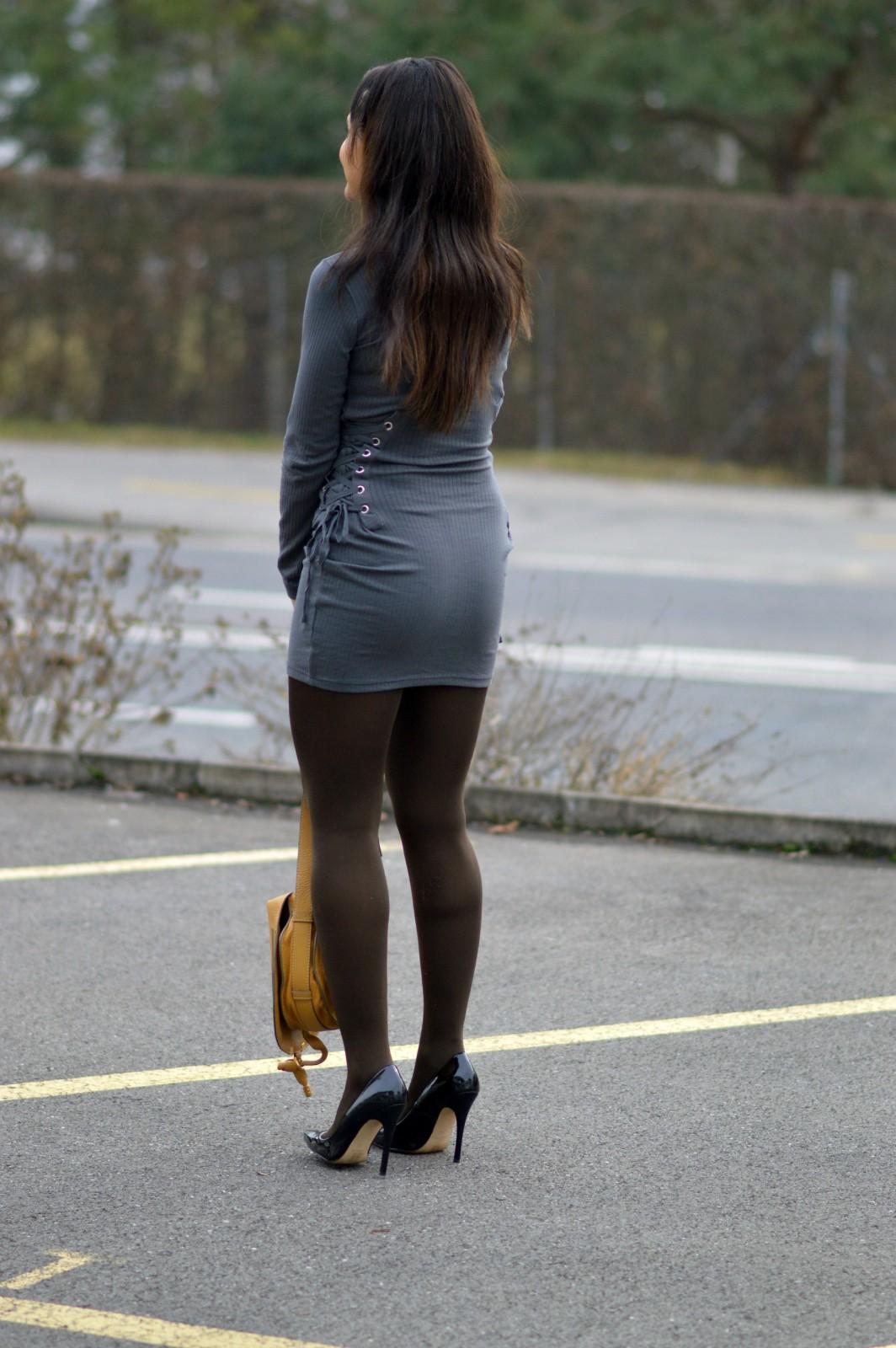 charcoal long sleeve mini dress