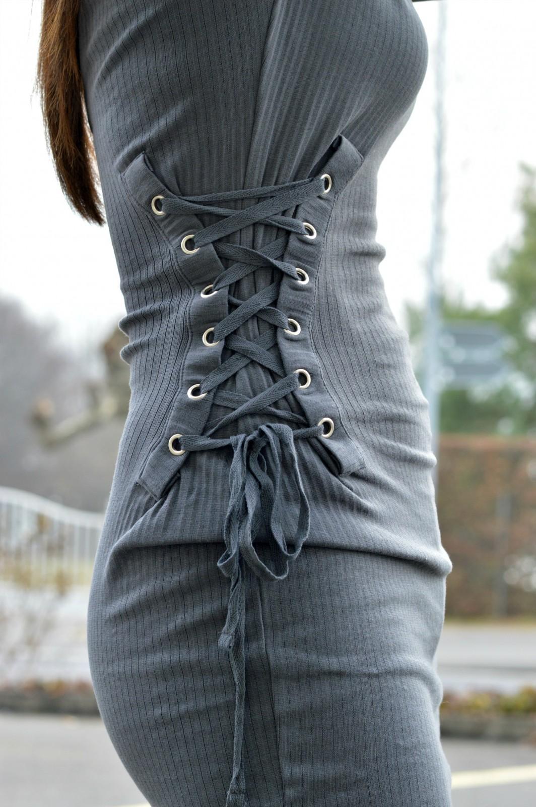 charcoal long sleeve mini dress/bodycon mini dress