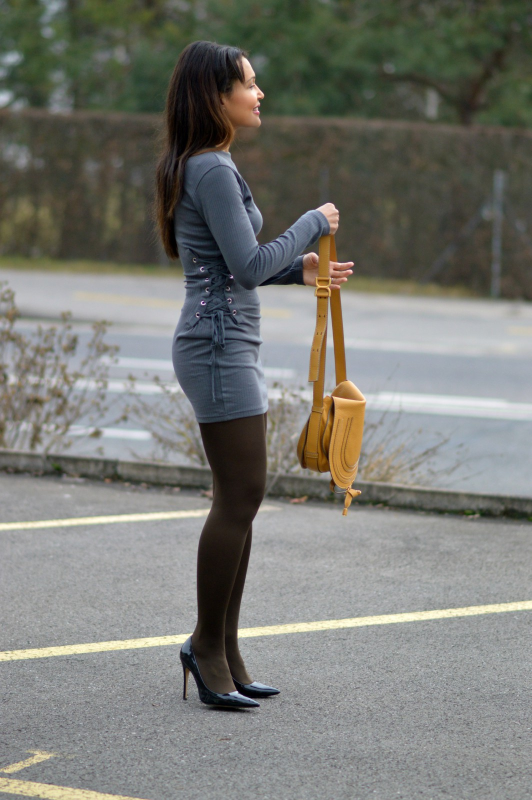 charcoal long sleeve mini dress/ Missguided