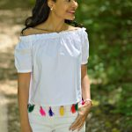 White Off the Shoulder Top With Tassels