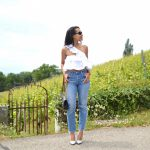 Distressed Hem Jeans and Ruffle Crop Top