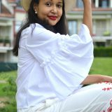 white ruffle blouse/ currently wearing