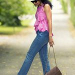 Pink Ruffle Top and Distressed Hem Jeans