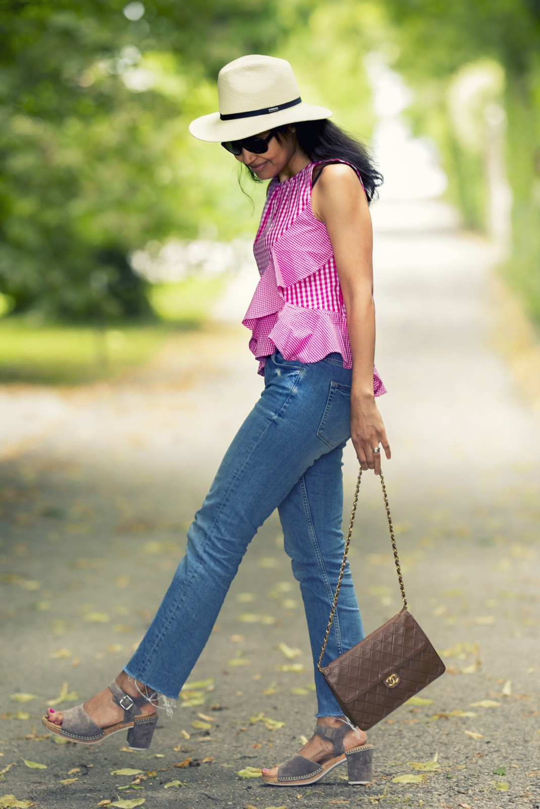 Pink Ruffle Top/ Distressed Hem Jeans