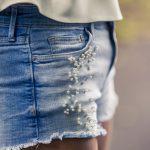 DIY Pearl Denim Shorts