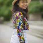 Patchwork Jacket & White Skirt