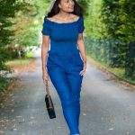 Denim Off Shoulder Jumpsuit & DIY Pom Pom Heels