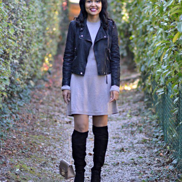 Esprit sweater dress/black OTK boots