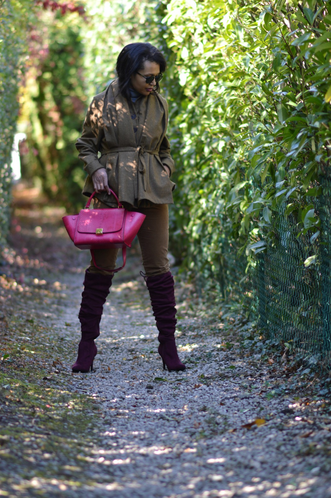 brown jacket/over the knee heels