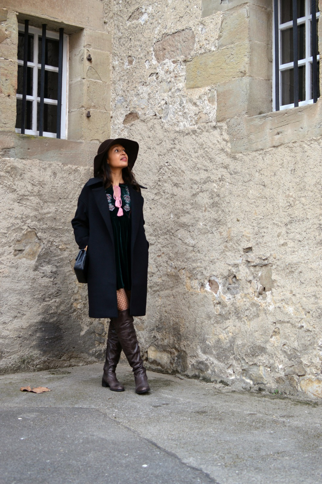 Embroidered dress/Brown over-the-knee boots/by Vanja Jocic
