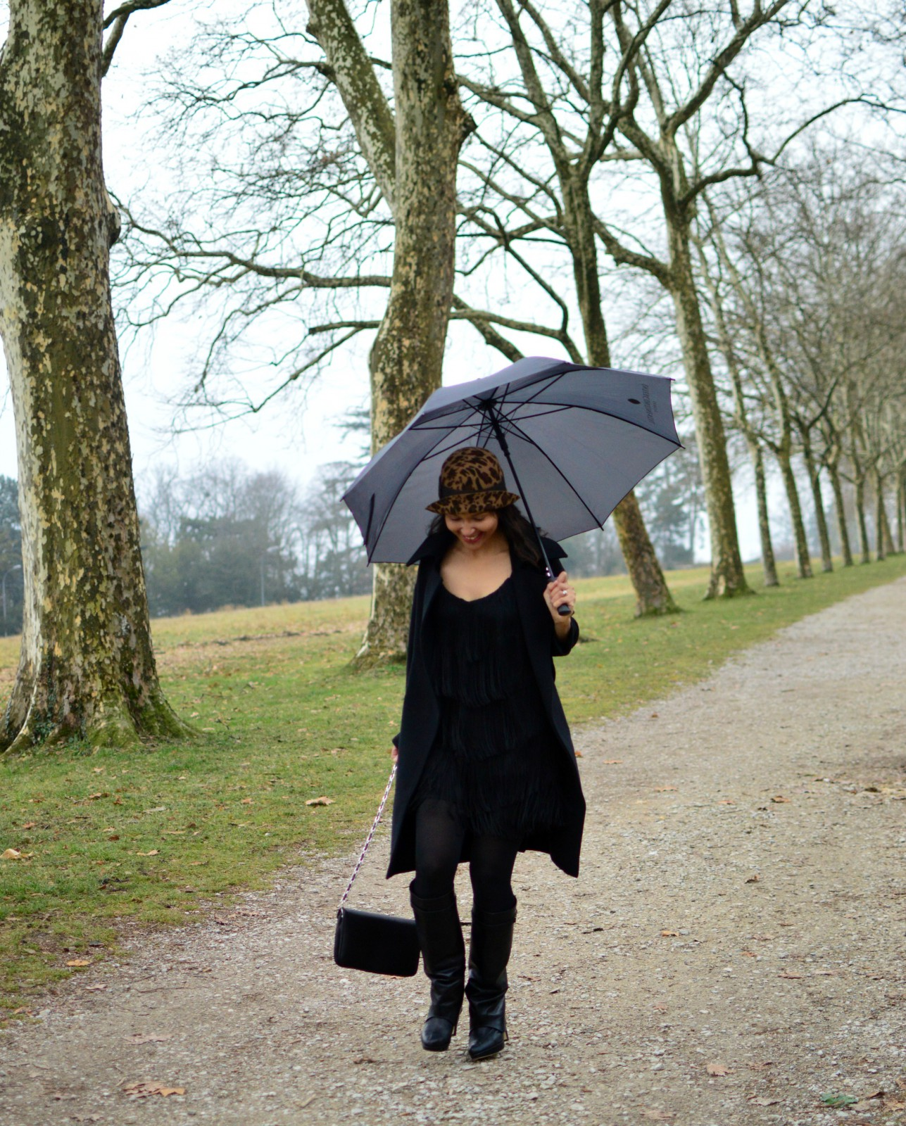 Black Fringe Mini Dress/black boots/swiss blog