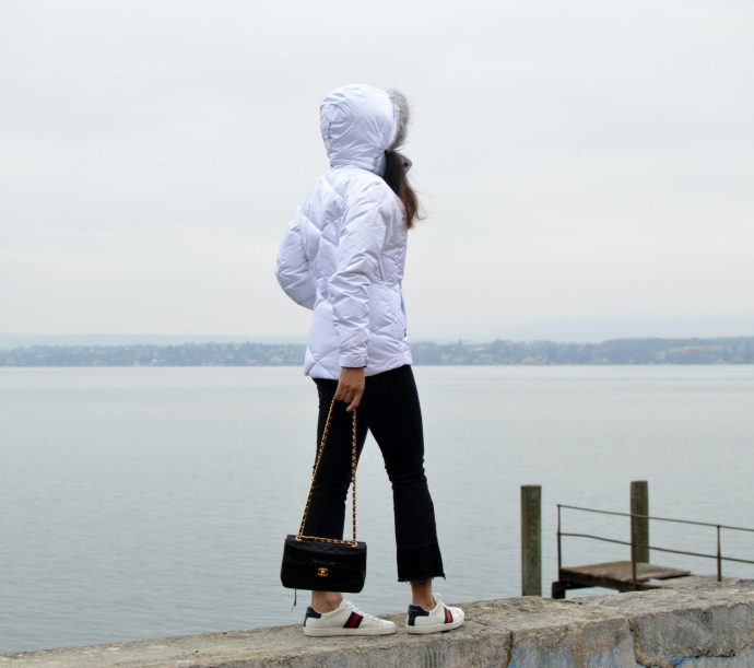 columbia jacket/ swiss blog/currently wearing/gucci sneakers