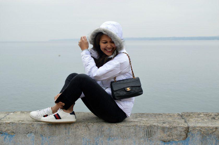 columbia jacket/ swiss blog/currently wearing/chanel handbag