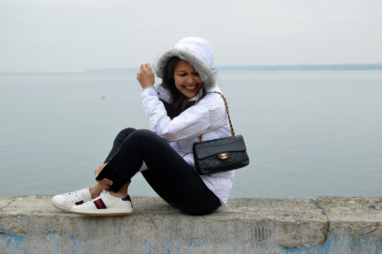 columbia jacket/ swiss blog/currently wearing/chanel handbag