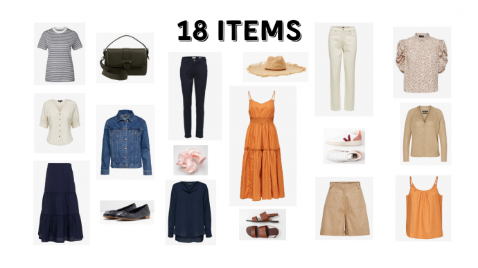 18 PIECES, OVER 123 OUTFITS summer capsule wardrobe currently wearing