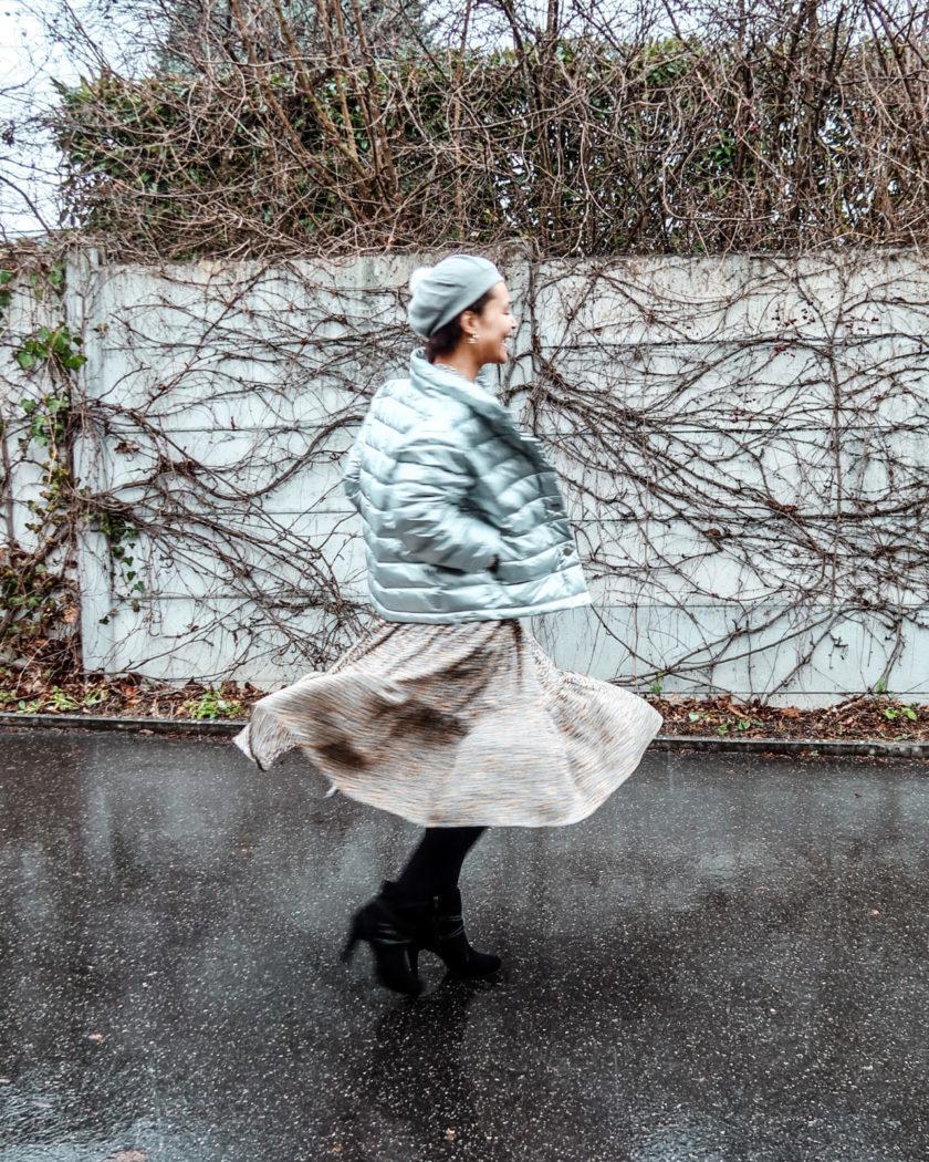 currently wearing swiss blog-long dress-festive look-silver down jacket